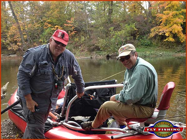 Flyfishing guide Jeff Conrad with client Eric Simpson on the White River in Carmel/Fishers, Indiana