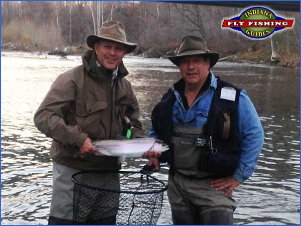 Rob Walters and Ed Devine with an Erie Steelhead