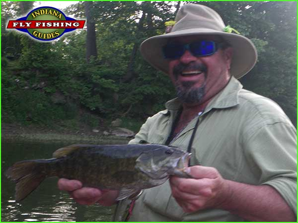 Sugar Creek smallmouth bass caught by Cecil Guidry flyfishing with a topwater fly