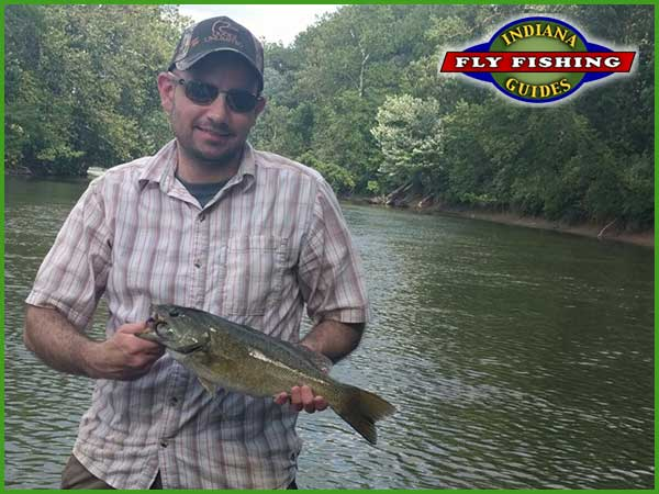 Indiana white river smallmouth on fly rod
